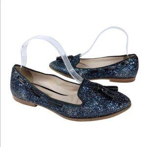 Miu Miu tassel loafers Glitter Silver Smoking Blue